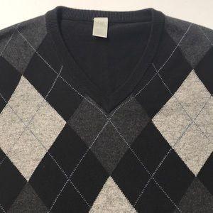 GAP Men's Large V Neck Black Gray Argyle Sweater